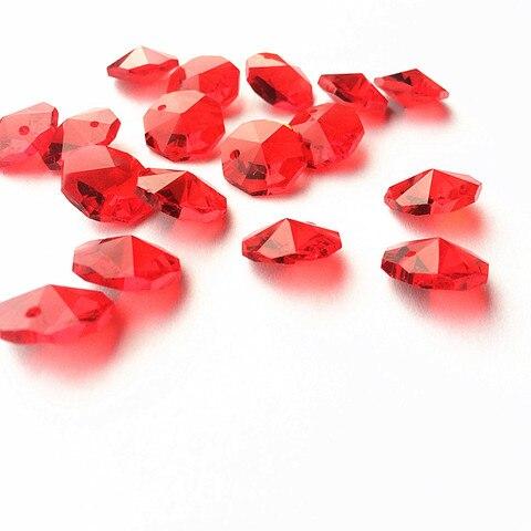 o envio gratuito de 100 pcs lote 14mm cristal octagon contas de vidro vermelho com