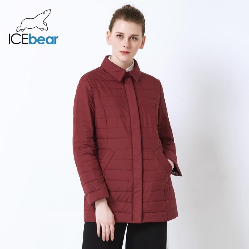 16e28324970 ICEbear 2019 весна новый высокое качество дамы полупальто мода повседневная  женская куртка воротник рубашки дамы хлопок