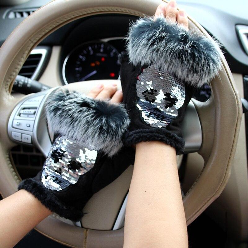 Magia moda invierno Guantes mujeres cráneo plateado Lentejuelas conejo Pieles de animales Guantes invierno Guantes Suede medio dedo guantes hembra