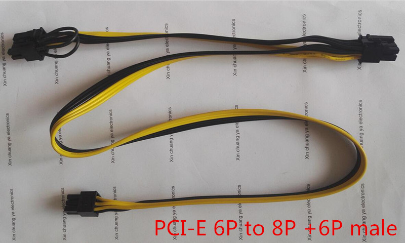 PCI-E PCIE PCI Express 6P male to 6+2P 8Pin + 6Pin male Graphics Card BTC DIY Power extend Cable miner mining wire 18AWG 20+60cm 20pcs lot 60cm pci e 8pin male to 8 pin 6 2pin male gpu power extension cable 18awg ribbon cable for video graphic card