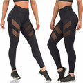 S-L Black Women High Waist Push Up Slim Solid Ladies Adventure Time Workout Legging Patchwork Polyester  Sexy Leggings