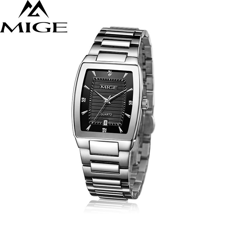 2017 New Hot Sale Brand Mige Freeshipping Man Watches Steel Black White Rose Lover Watch Waterproof Quartz Mans Wristwatches mige 2017 new hot sale lover man watch rose gold case white casual ultrathin waterproof relogio masculino quartz mans watches