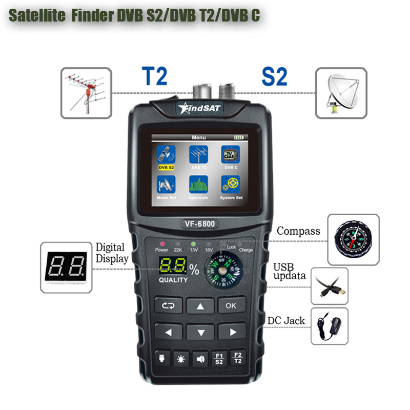 VF-6800 SatFinder Meter Dvb-t2/DVB S2/DVB C Combo Satellite Finder Dvb T2 Receiver Satellite Satfinder 2.4