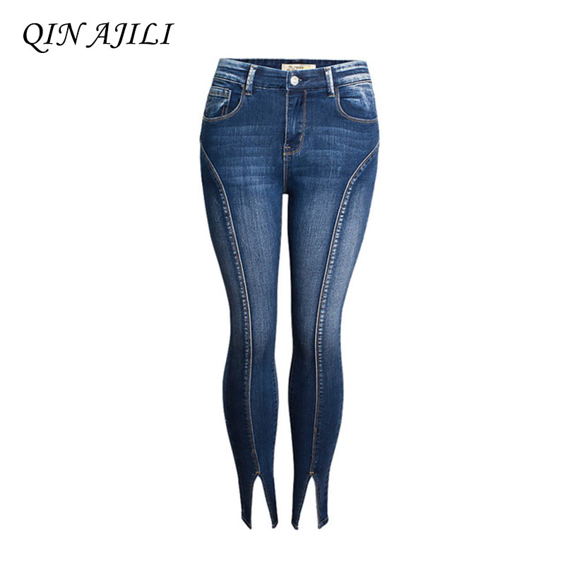 QIN AJILI Women`s High Street Patchwork Cropped Jeans Ultra Stretchy Denim Pencil Skinny Pants Trousers For Women Free Shipping