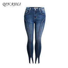 цена на QIN AJILI Women`s High Street Patchwork Cropped Jeans Ultra Stretchy Denim Pencil Skinny Pants Trousers For Women Free Shipping