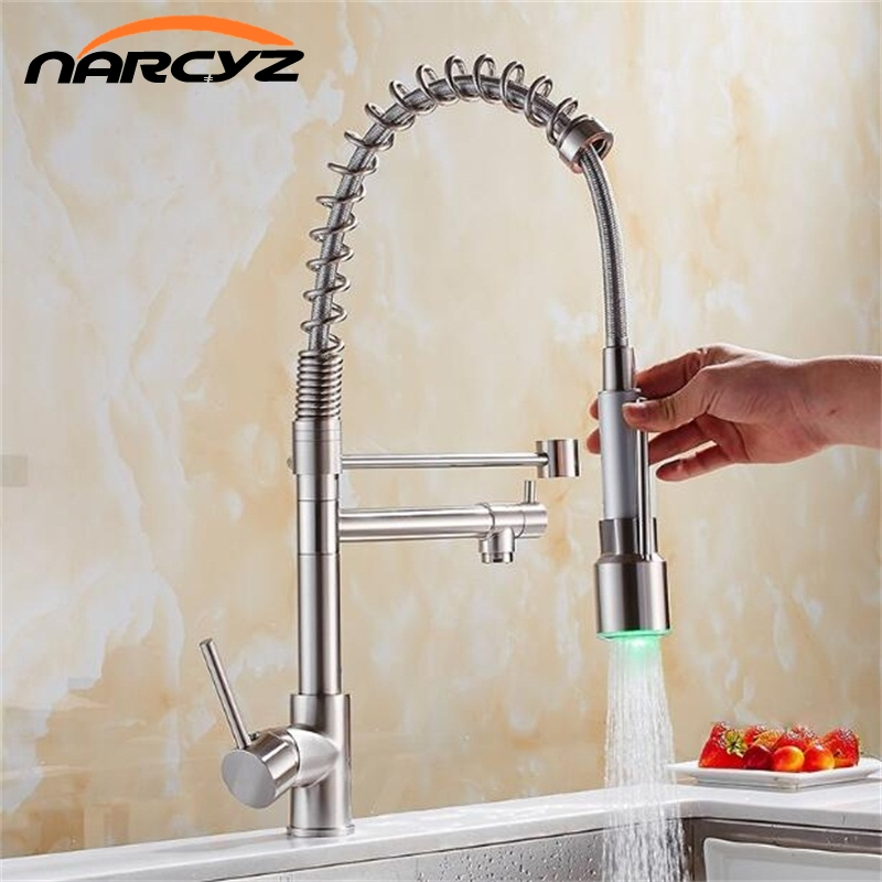 LED Kitchen Faucets Brushed Nickel Faucets for Kitchen Sink Single Pull Out Spout Mixers Tap Hot Cold Water Tap Crane XT-138LED Kitchen Faucets Brushed Nickel Faucets for Kitchen Sink Single Pull Out Spout Mixers Tap Hot Cold Water Tap Crane XT-138