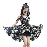 בנות החוף פרחוני Asymmetrcal שמלות 2018 חדש קיץ ללא שרוולים שיפון שמלת נסיכת ילדים בגדי ילדים המפלגה לנשף