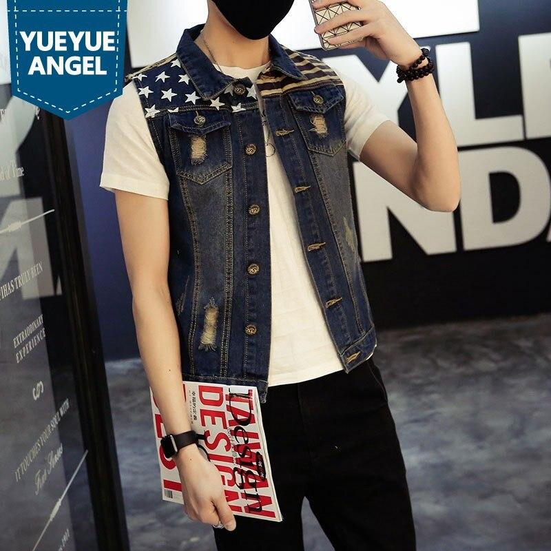 Classique Vintage Mens Jeans Gilet Sans Manches Vestes De Mode Motif Conceptions Collège Style Déchiré Cowboy Effiloché Denim Gilet Réservoirs