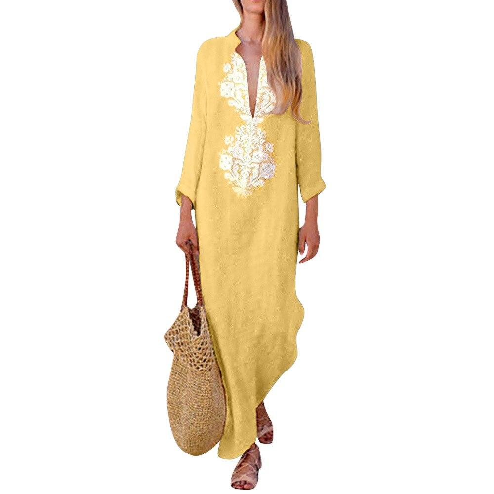 Womens Dress Printed Linen Long Sleeve sexy V neck Maxi Dress Split Hem Baggy Kaftan