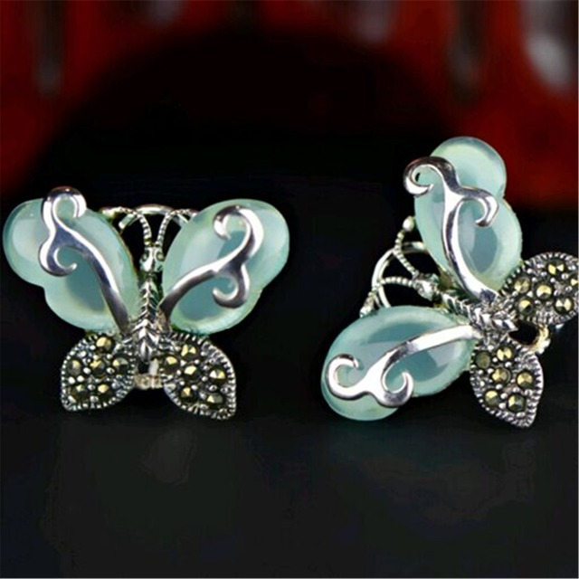 Green Chalcedony 925 Sterling Silver Vintage Marcasite Earrings With Natural Stones Chrysoprase Erfly For