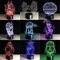 Creative RGB Spiderman Star Wars BB8 droid 3D Bulbing Light toys visual illusion LED lamp Darth Vader Millennium Falcon kids toy