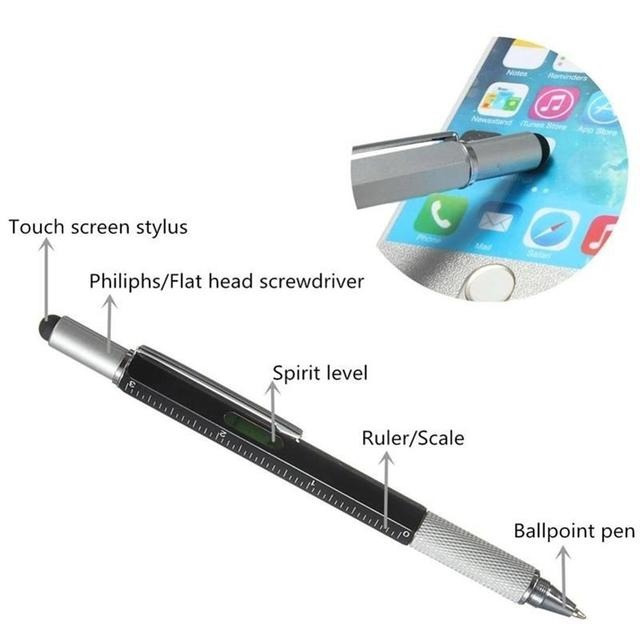 1Pc Multifunction Tool Ballpoint Pen Screwdriver Ruler Spirit Level Ball Pen Scale Stylus Touch Screen Capacitive Canetas Office 5