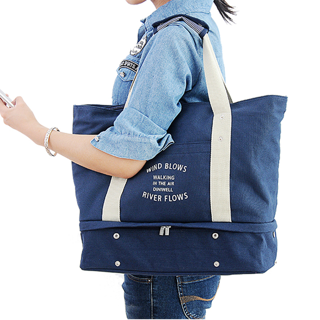 2018 Summer Autumn Women Folding Travelling Waterproof Tote Bag Female  Large Canvas Shoulder Bag travel Bag fbab69ecbc