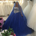 Royal Blue Plus Size Wedding Dresses Sweetheart Rhinestones Tulle A Line Floor Length Bridal Gowns vestidos de noiva Custom