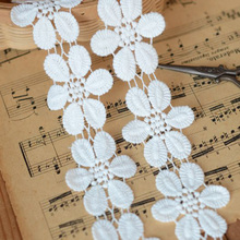 10Yards Cotton Lace Trim White Flower Floral Accessories Water Soluble Appliques Craft Embellishment For Wedding Dress