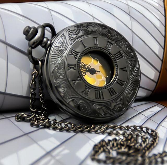 Vintage gold surface Roman numerals Fashion quartz black high quality Hollow out