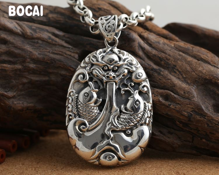 S990 silver handmade carp jump gantry, men and women pendants retro Thai silver lucky sweater chain pendant 925 silver jewelry retro yaguang buddha joker sweater chain pendant thai men and women old grind arenaceous silver pendant