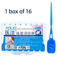 16Pcs/Box Oral Care Adults Interdental Brushes Dental Floss Sticks Silicone Toothpick Clean Between Teeth Massage Gums Tool