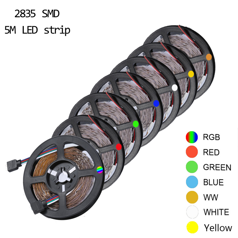 5M/Roll RGB Warm Cool White Red Green Blue Yellow Flexible 2835 Waterproof LED Strip Lighs 300LEDs 60LEDs/M Bande LED Diode Tape