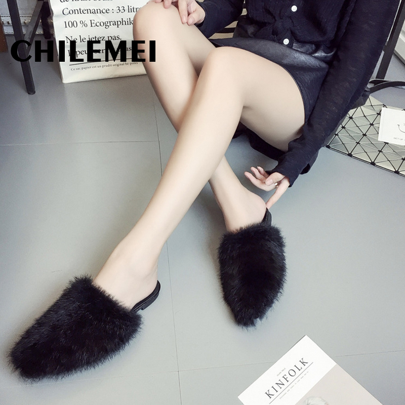 2017 Autumn Winter Fur Furry close Toe Women Slippers Casual Flat Shoes Soft Warm Fluffy Slip On Cute Home Floor Slippers bomhcs comfort softness cute women autumn winter warm 100