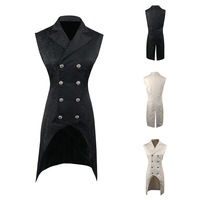 Oeak Men Fashion Double Breasted Lapel Collar Waistcoat 2019 New Jacquard Gothic Steampunk Vest