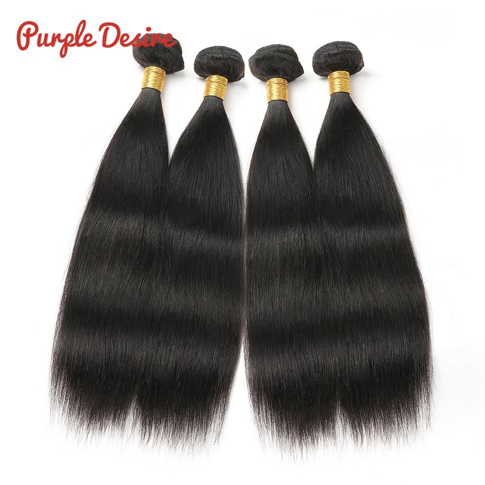 Peruvian Hair Bundles Straight Human Hair Bundles Lila Desire Remy - Mänskligt hår (svart) - Foto 3
