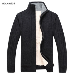 Suéter Aolamegs hombre Otoño Invierno lana gruesa cárdigan Masculino 2016 ropa de marca de moda prendas de vestir tejido suéter de hombre M-3XL