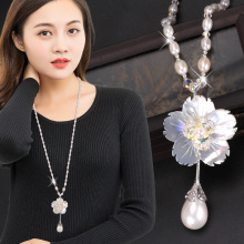 European and American fashion shell flower Pearl sweater chain 2019 new long autumn winter crystal necklace