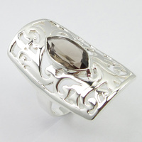 Silver Natural Smoky Quartzs Ring Size 9 Women Wedding Jewelry Unique Designed
