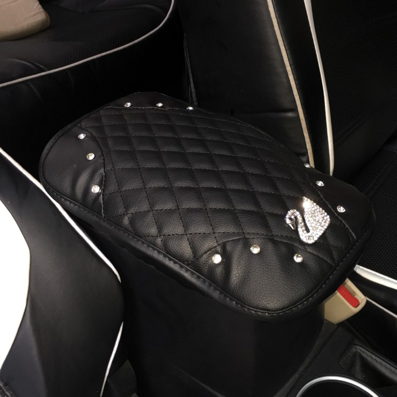 Crystal Leather Car Armrest Box Pad Cushion Cover Center Console Armrests Mats !