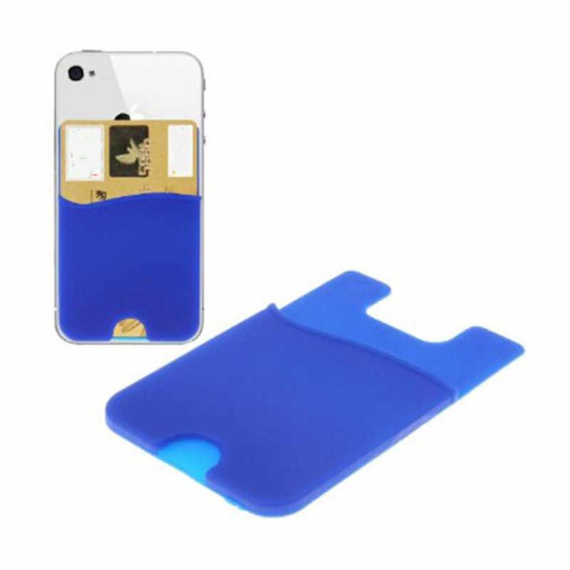 1 pc moda adesivo adesivo capa traseira titular do cartão de silicone pequeno ônibus caixa de cartão bolsa para o telefone cartão de crédito bolsa de dinheiro