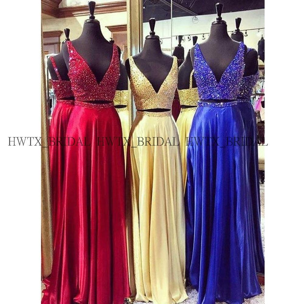 Haute qualité 2019 robes de bal cristaux scintillants v-cou deux pièces longue robe de bal rouge Royal bleu robe formelle Vestidos de fiesta