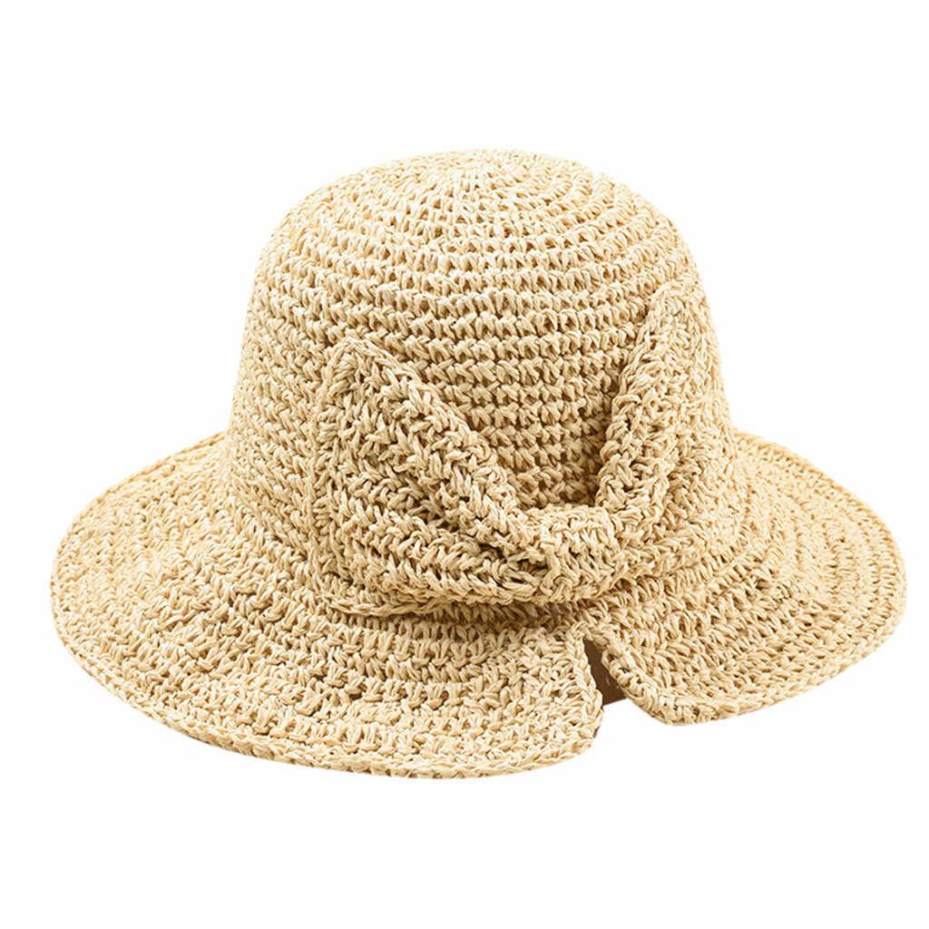 TININNA Damen Frauen Faltbare gro/ße Krempe Strohhut Sonnenh/üte Sommer Strandhut Floppy UV Sonnenschutz Sommerhut Sonnenhut Strand Kappe