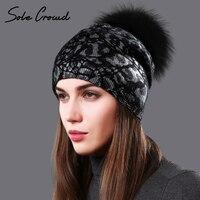 Jedynym Tłum kobiet srebrny leopard print kapelusze jesień zima dzianiny wełna pompon czapki z raccoon fur ciepły kapelusz dla kobiet czapki