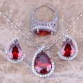 Red Created Garnet White CZ Silver Jewelry Sets Earrings Pendant Ring For Women Size 6 / 7 / 8 / 9 / 10  S0002