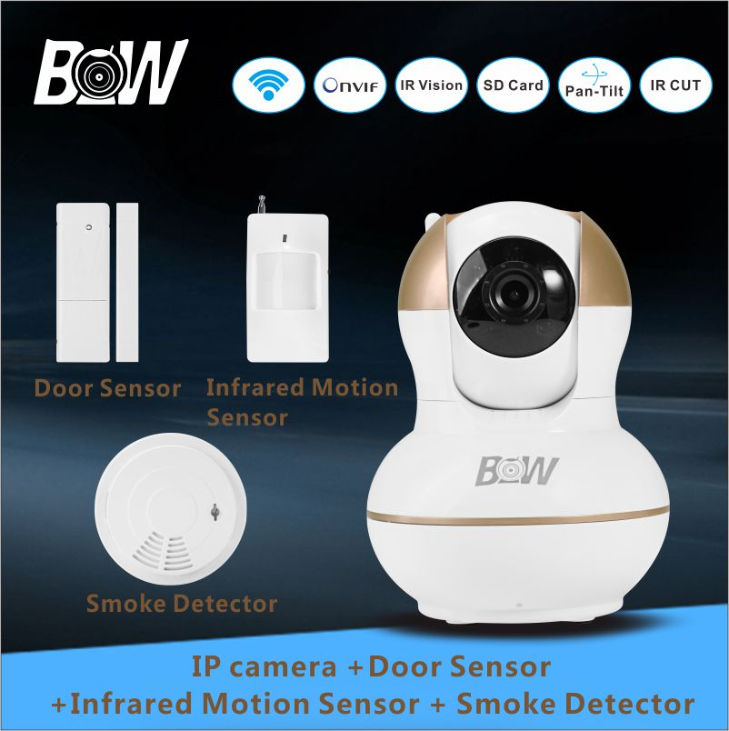 цена на 720P HD IP Camera WiFi + Door Sensor + Infrared Motion Sensor + Smoke Detector Home Alarm System Security Camera Wireless BW12G