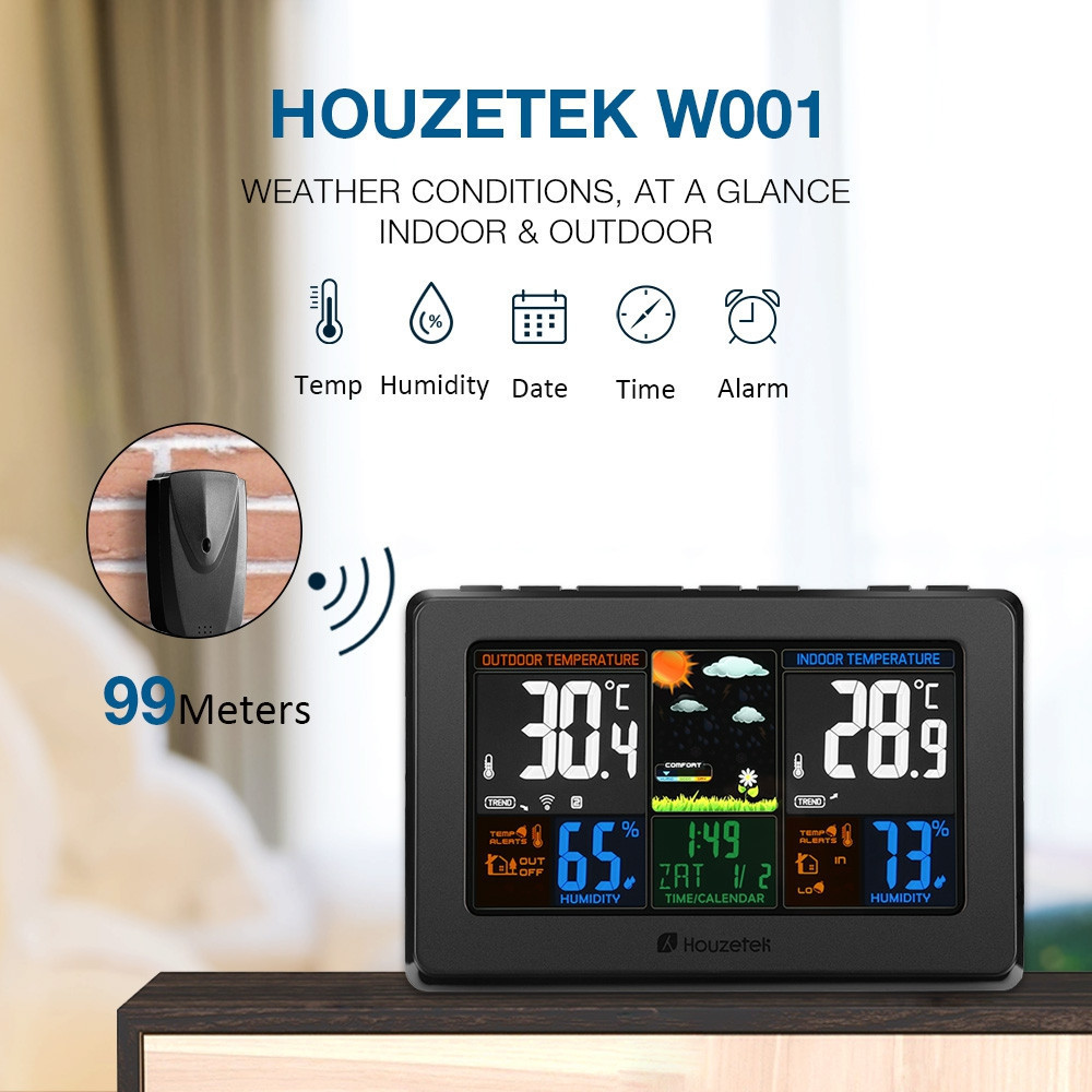 Wireless Digital Thermometer Hygrometer LCD Touch Screen Weather Station Temperature Humidity Forecast Sensor Indoor Outdoor clear lcd screen digital thermometer white