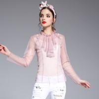 2017 New Arrival Summer Pink Lace Blouse Women Cute Fashion Stand Collar High Quality Clothing Free