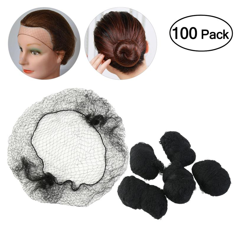 100pcs Hair Nets Invisible Elastic Edge Mesh Hair Styling Hairnet Soft Lines For Dancing Sporting Hair Net Wigs Weaving - Black