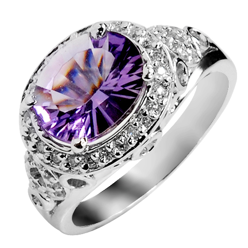 Natural Amethyst Ring 925 Sterling Silver Purple Crystal Woman Fashion Fine Elegant Luxury Jewelry Queen Birthstone Gift sr0200a natural green peridot ring 925 sterling silver crystal rose gold plated woman fashion fine elegant jewelry queen birthstone gift