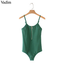 Vadim mujeres sexy cremallera frontal bodysuits estirable básico sin mangas playsuits mujer casual moda tops ZC089(China)