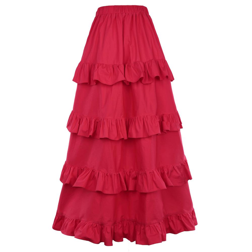 HTB1LJVbRXXXXXarXXXXq6xXFXXXn - FREE SHIPPING Women Skirt Red Ruffles JKP094