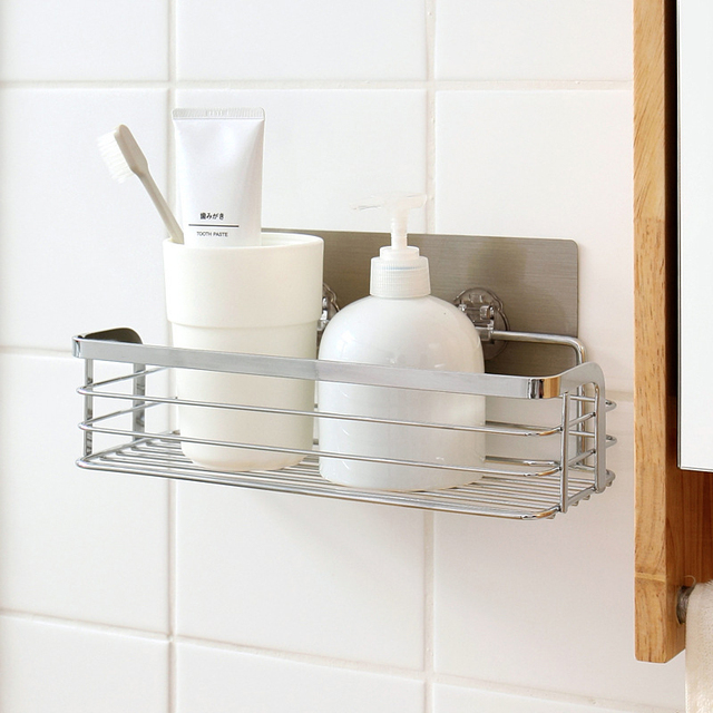 New Stainless Steel Storage Holder With Basket Wall Suction Cups Stand Kitchen Bathroom Organizer Rack