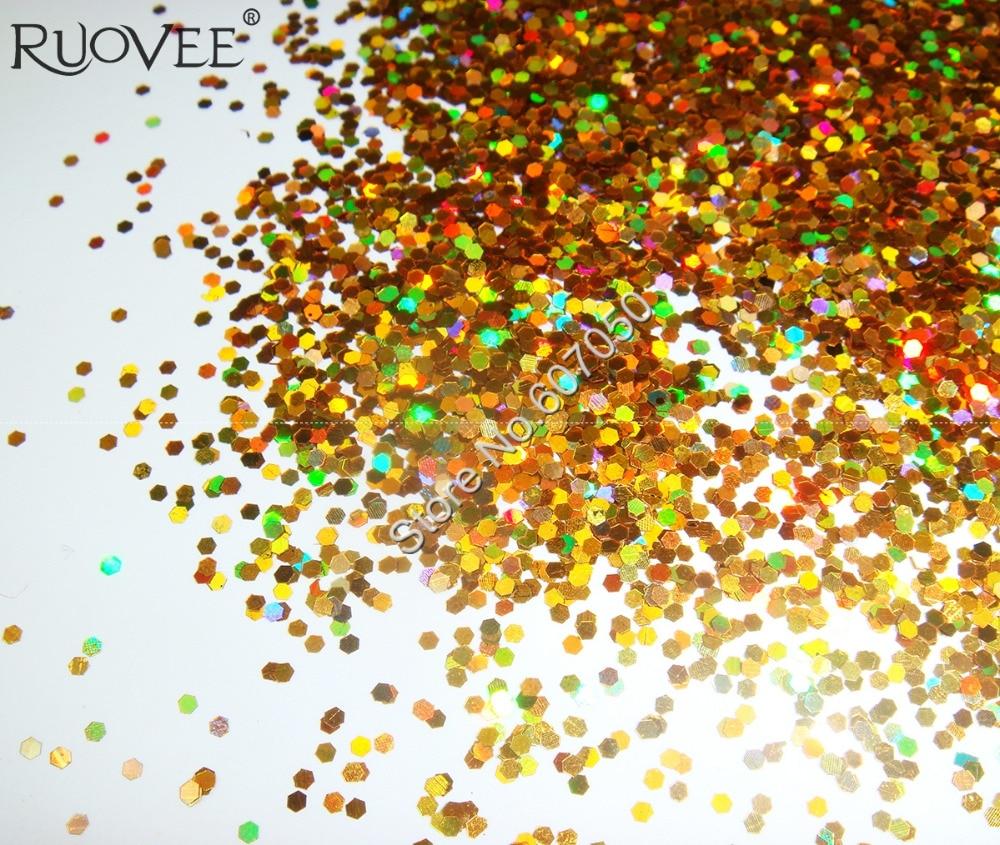 """50 г-1 мм(1/2"""") Блестки для ногтей Золото ослепительно шестиугольные блестки блестками Форма, ручная работа, для художественного оформления ногтей& блестки для рукоделия"""