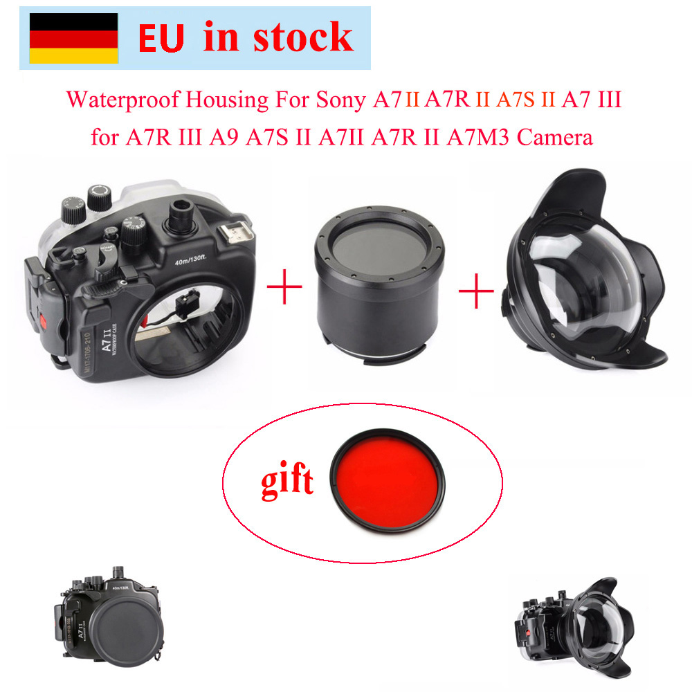 Meikon 40 M/130ft boîtier étanche pour Sony A7 III A7R III A9 A7S II A7 II A7R II A7M3 caméra + Port de dôme d'angle de fil