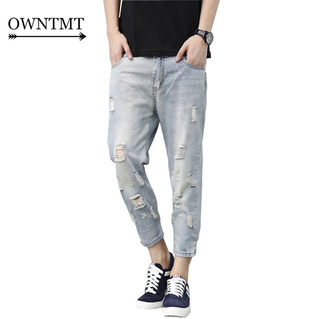 Men Jeans Ripped Loose Hip hop Cotton Jeans hole destroyed Ripped ...