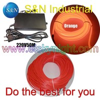 orange 4.0MM40~50 M Flexible semi circular el Wire &100 240VAC inverter for holiday,party,festival and house decoration