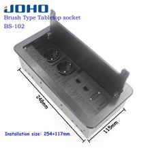 JOHO แปรงเปิดประเภทซ็อกเก็ตโต๊ะอลูมิเนียม EU ปลั๊ก USB HDMI VGA BS 102