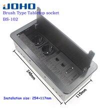 JOHO Fırça Açık Tipi Masaüstü Soket Alüminyum Alaşımlı AB Tak Çok Fonksiyonlu USB HDMI VGA Arayüzü BS 102