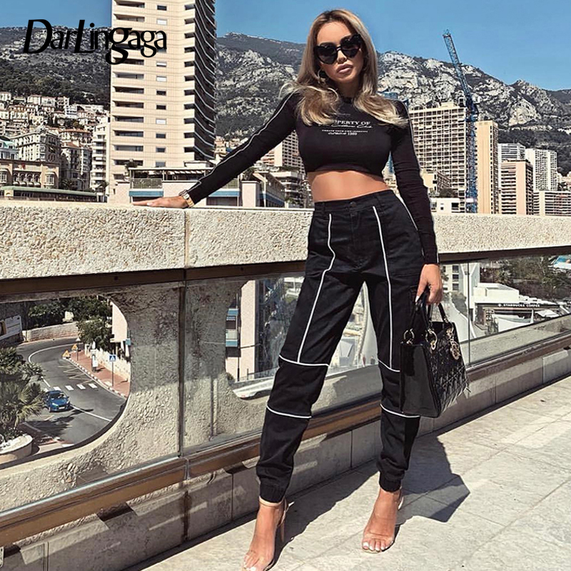 Darlingaga Streetwear Reflective Stripe   Pants   Women Joggers Fashion Autumn Trousers High Waist   Pants   Track   Capris   New Pantalones